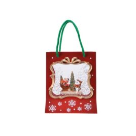 borsa natalizia con luci e neve che scende