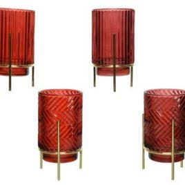 Porta tealight vetro rosso con supporto oro