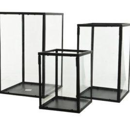 Portacandele metallico con vetro – misura media