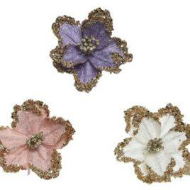Fiore colori assortiti con pinza- 1pz