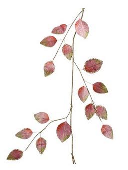 Festone con foglie in velluto con glitter rosa