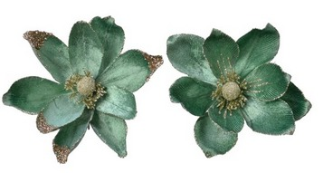 Magnolia con clip in velluto verde con glitter – 1pz