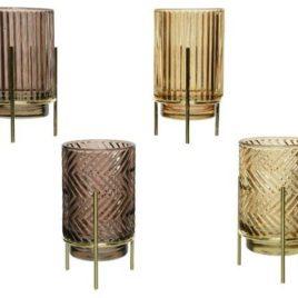 Porta tealight in vetro oro/marrone – 1 pz