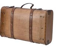 Valigia in legno con inserti cuoio – piccola-