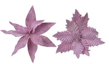 Magnolia con clip in velluto rosa con glitter – 1 pz