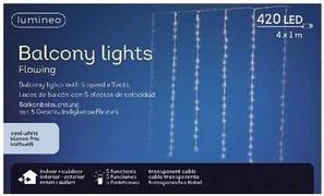 Cascata luci balcone – 420 led – lunghezza 4 metri – altezza 1 metro- luce fredda