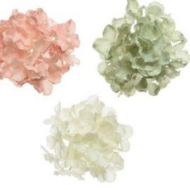 Ortensia con clip rosa/verde/bianca glitterata – 1 pz