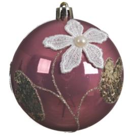 Pallina con fiore e perla cm 8 rosa velluto