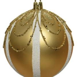 Pallina oro chiaro con glitter cm 8