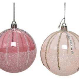 pallina rosa chiaro-scuro con glitter cm 8