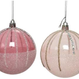 Pallina cm 20 rosa chiaro-scuro con glitter
