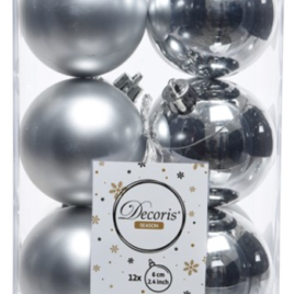 Confezione 12 palline diam, 6 cm argento