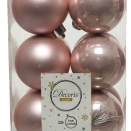 Confezione 12 palline rosa pallido diam. 6 cm
