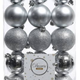 Confezione 30 palline argento diam. 6 cm