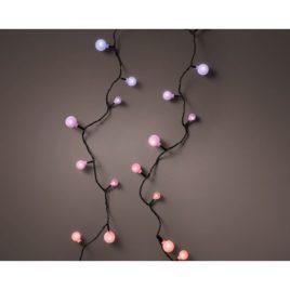 Luci 120 led metri 9 a ciliegia filo nero luce rosa-lilla