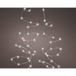 Luci 120 led con scintilla metri 6 filo metallo argento luce fredda