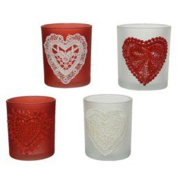 Portatealight con cuore rosso-bianco d.7 cm.