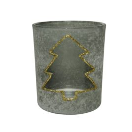 Porta tealight in vetro con pino h.8 cm.