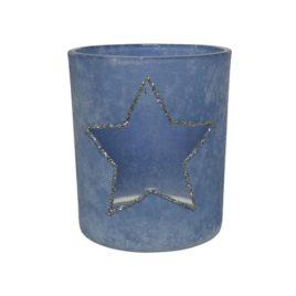 Porta tealight in vetro con stella h.8cm.