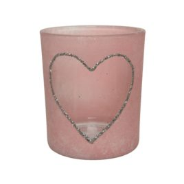 Porta tealight in vetro con cuore rosa h.8 cm.
