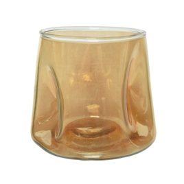 Porta tealight in vetro ambra d.13xh12 cm.