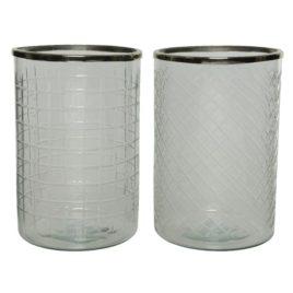 Poracandele in vetro con bordo d.15xh23cm