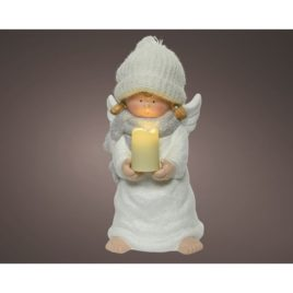 Angelo con candela luce naturale h.24,5 cm.