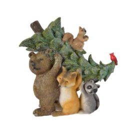 Animali con pino verde h.17,5 cm.