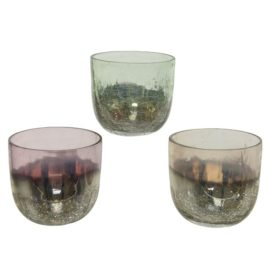 Porta tealight in vetro assortito d.7cm h6.5