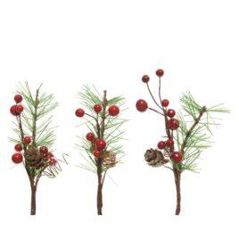 Pick bacche rosse con pino h.15cm