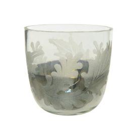 Porta candela in vetro silver d.8,5cm