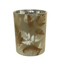 Porta candele perla con foglie d.10xh12,5cm