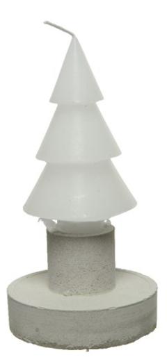 Candela diam. 7,5 h 12 cm forma pino bianca