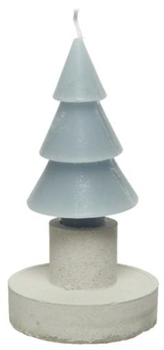 Candela diam. 7,5 h 12 cm forma pino azzurra