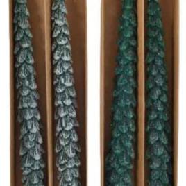 Set 2 candele stelo verdi forma pino