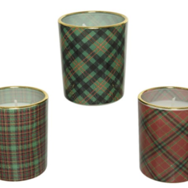 Candela vasetto scozzese diam. 5,5, h 6,5 cm