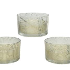 Candela vasetto vetro diam. 13 h 8 cm oro
