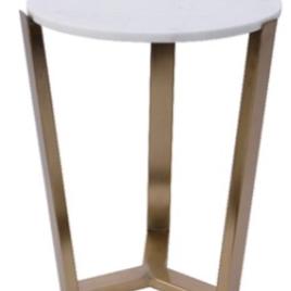 Tavolino metallo diam. 36 h 46 bianco-oro