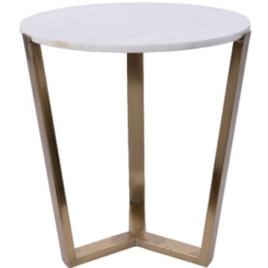 Tavolino metallo diam. 46 h 52 cm bianco-oro
