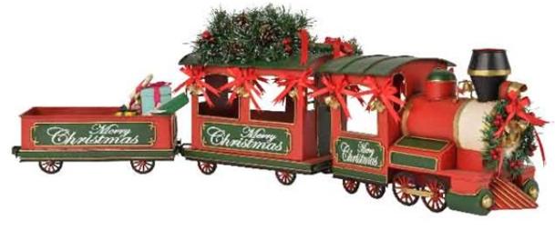 Treno metallo cm 92 con albero e regali