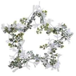 Stella metallo con fiori diam. 15 cm bianca-verde