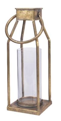 Lanterna metallo oro 11×11 h 25 cm