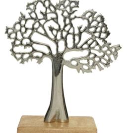 Albero silver con piedistallo h 34 cm