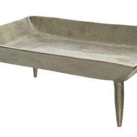 Vassoio silver su piedi 21×30 h 11 cm