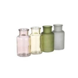 Bottiglietta vetro azzurra-verde-rosa-giallo h 12,5 diam 7 cm