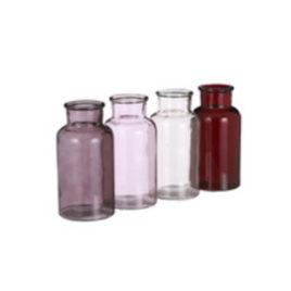 Bottiglietta vetro rossa-viola-rosa-marrone h 16 diam 8 cm