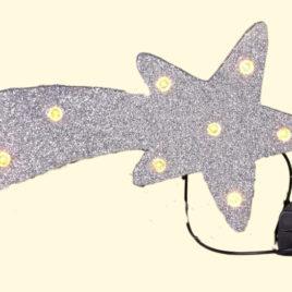 Cometina argento cm 18×8 con 10 luci led a batteria